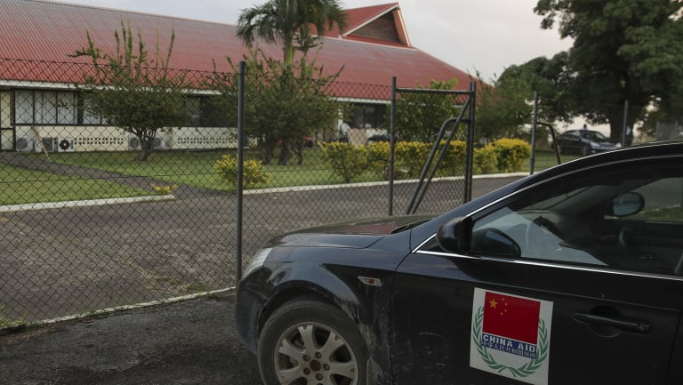 A China aid vehicle outside the Vanuatu Parliament.