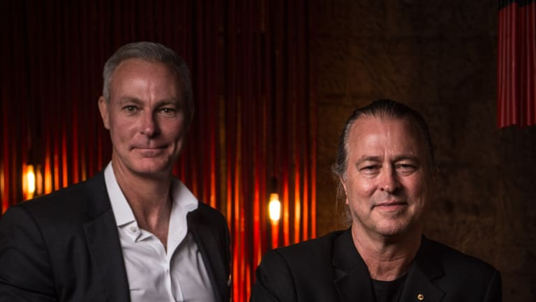 Chef Neil Perry (right) and Rockpool Dining Group chief executive Thomas Pash at Sake restaurant in Sydney.