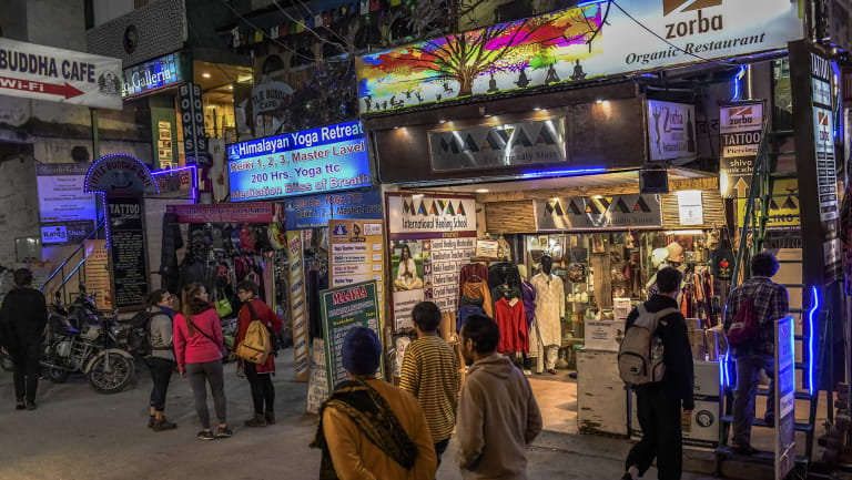 Shops in Rishikesh, India, have thrived as  more spiritual seekers from the West travelled to India looking for enlightenment.