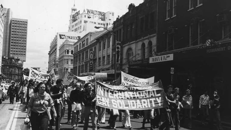 The morning march of the of the 1978 Mardi Gras Gay Solidarity Group protests in Sydney in 1978.