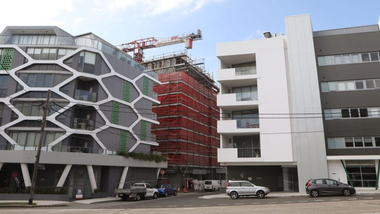 Apartment buildings go up on Old Canterbury Road in Campsie.