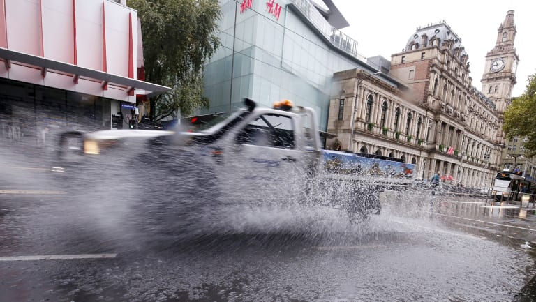 The rain caused minor flooding in the CBD this morning.
