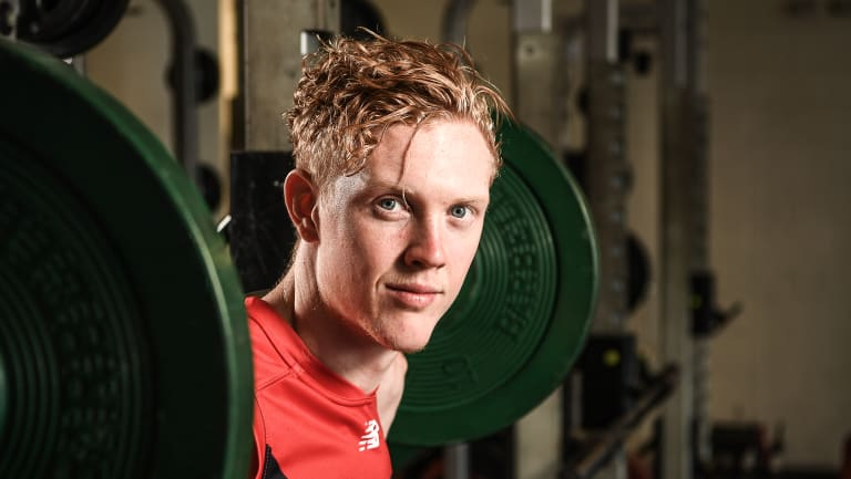 "Melbourne's Clayton Oliver at training this week. ""I'm doing everything I can to get as fit as possible,"" he says."