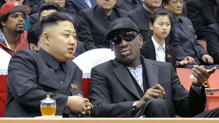 Odd couple ... North Korean leader Kim Jong-un and former NBA star Dennis Rodman.