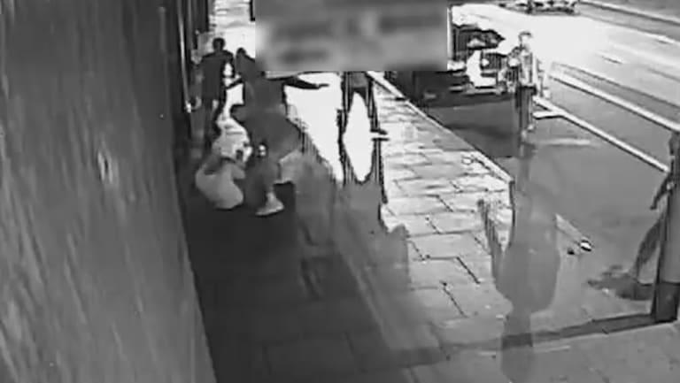 A still image of the brawl in Prahran on Thursday morning.