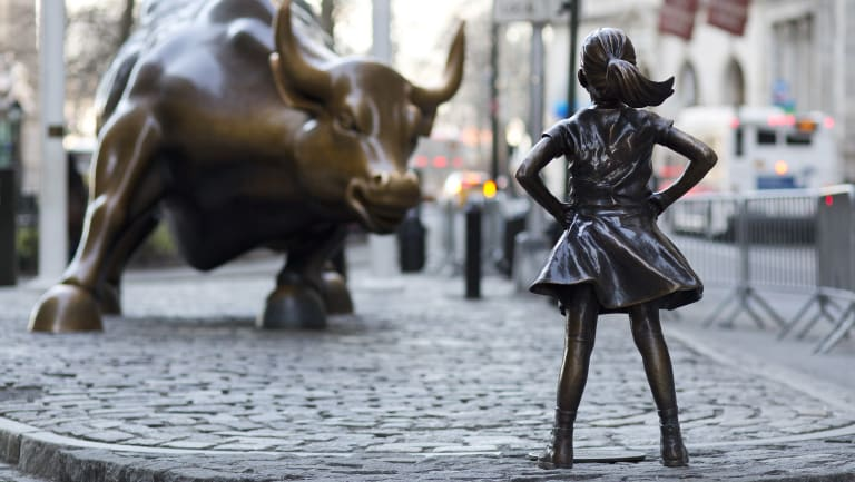 State Street's fearless girl statue on Wall St.