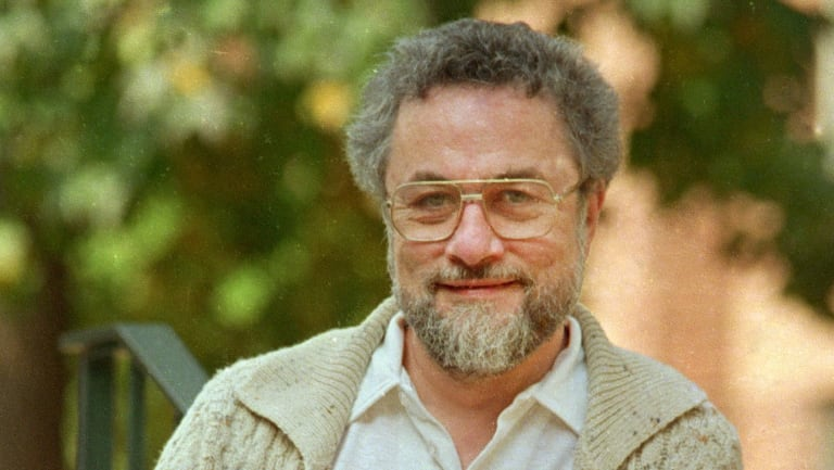 """In this October 1987, file photo, Adrian Cronauer, a disc jockey on the Saigon-based Dawn Buster radio show from 1965-1966 whose experiences in the Vietnam War were chronicled in the movie """"Good Morning, Vietnam,"""" poses outside his home in Pennsylvania."""