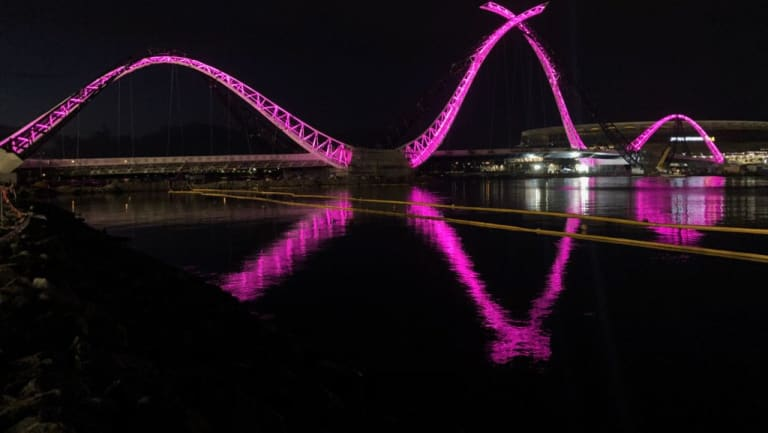 Matagarup Bridge is open ahead of the AFL clash between Fremantle and Port Adelaide.