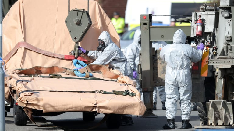 Soldiers in Dorset, England investigate the the suspected nerve agent attack on Russian double agent Sergei Skripal in March.
