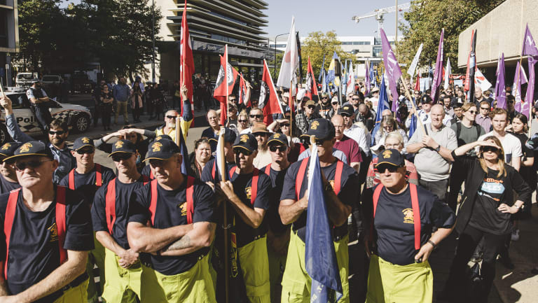 Activists at the Unions ACT Change the Rules rally on Tuesday.