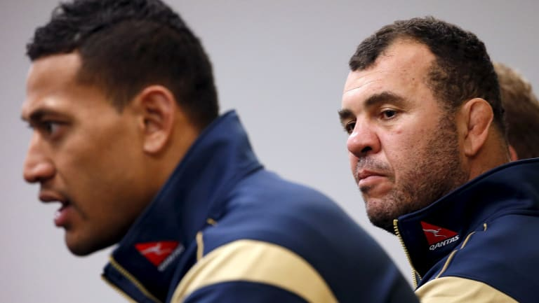 Israel Folau and Michael Cheika in 2015.