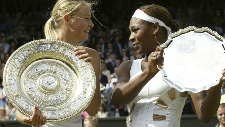 Maria Sharapova and Serena Williams at Wimbledon in 2004.