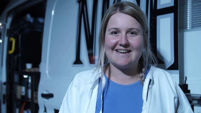 """""""Sometimes you're run off your feet,"""" says St Vincent's graduate nurse Louise Christison, who ventures out to the hospital car park at 3am in her white nursing gown to collect coffees for her colleagues."""
