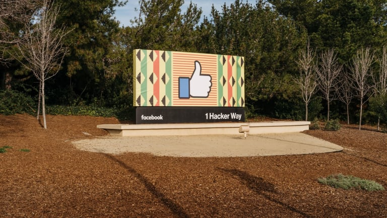 A sign near the entrance to  Facebook offices in Menlo Park.