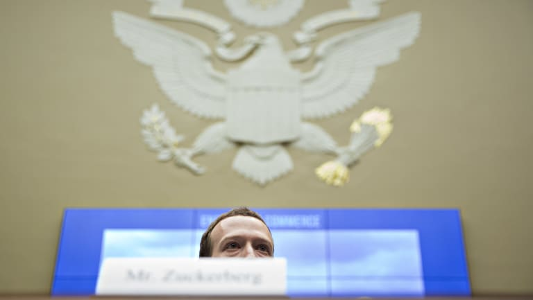 Mark Zuckerberg, chief executive officer and founder of Facebook Inc., listens during a House Energy and Commerce Committee hearing in Washington, DC.