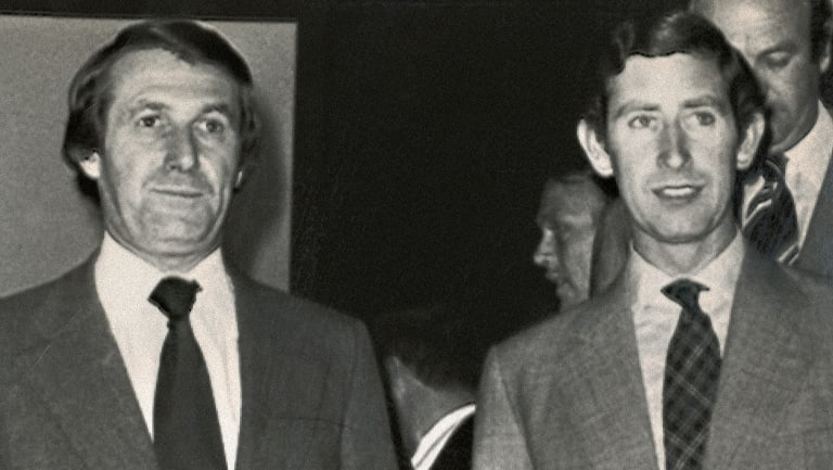 Harry M Miller and Prince Charles during the Silver Jubilee celebrations.
