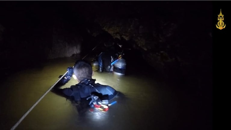 The Royal Thai Navyin action during the rescue.