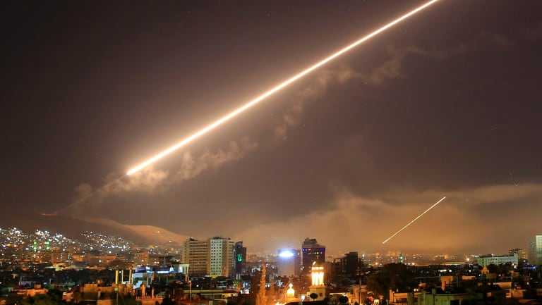 Damascus skies erupt with service to air missile fire as the US launches an attack on Syria targeting different parts of the Syrian capital.
