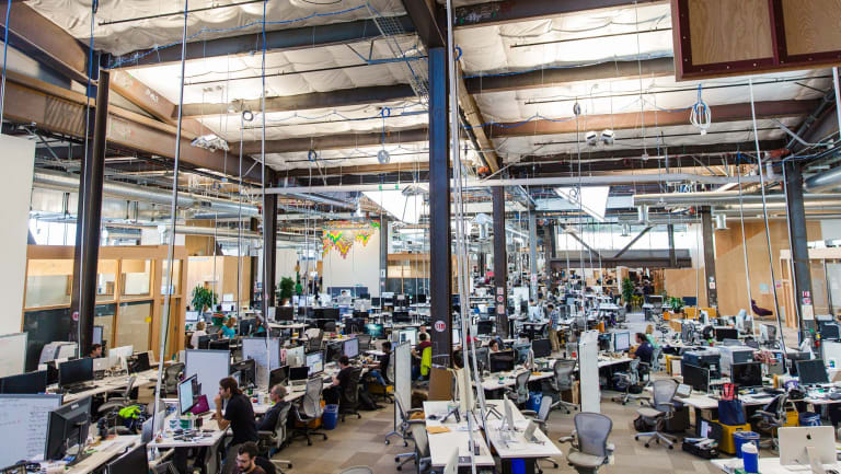 Employees inside Facebook's Menlo Park, California, office, which may be the longest continuous work space in the world.