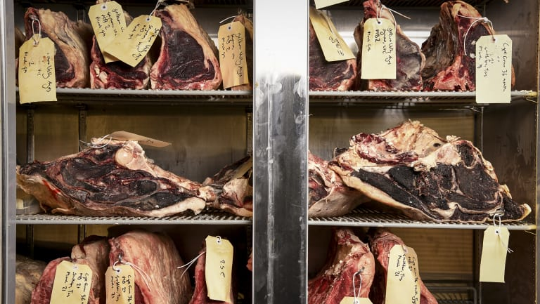 Meat being aged at Butchers Diner in the Melbourne CBD.
