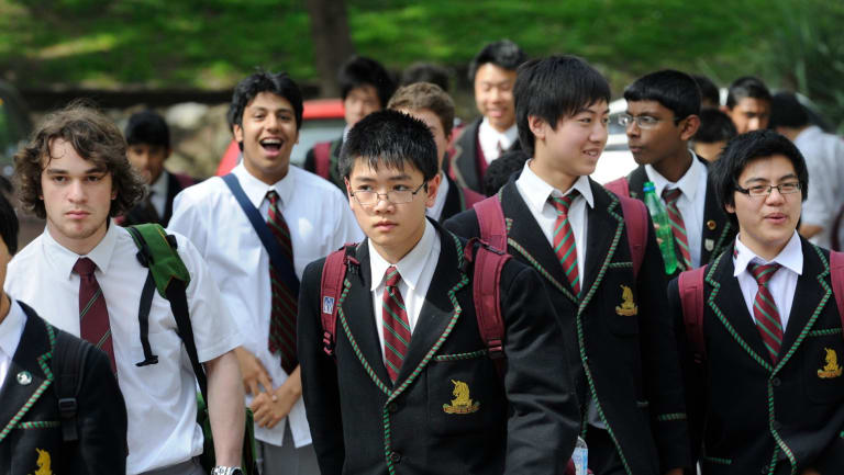 Students at the selective Melbourne High.