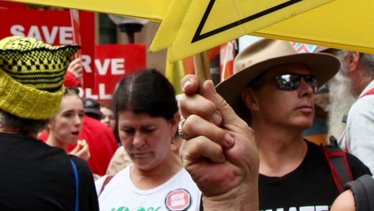 Protesters marched in Sydney on March 24 to protect farmland, water and rural communities from coal and coal seam gas, including the Shenhua mine.