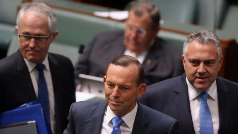 Malcolm Turnbull with then prime minister Tony Abbott, and then treasurer Joe Hockey.
