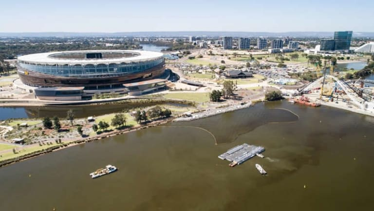 The new Burswood jetty will mean footy fans can take the ferry to a game. The jetty pontoons are pictured ready to be moved into place.