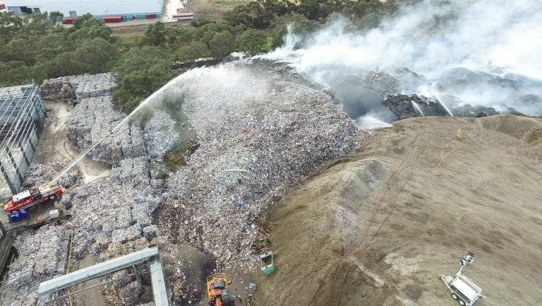 The fire at the SKM plant last year where tonnes of recycling had been stockpiled.