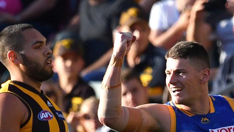 Back in the hunt: Brisbane's Dayne Zorko celebrates a goal at the Lions' den.