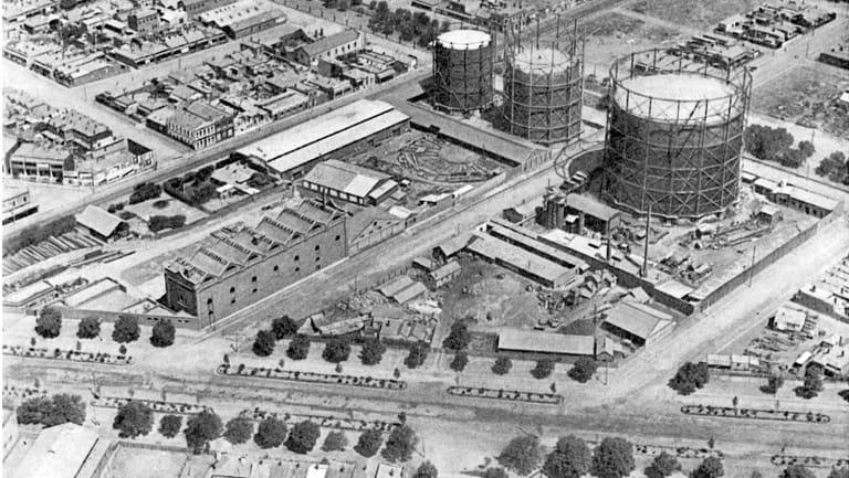 The three gasometers on the site at North Fitzroy.