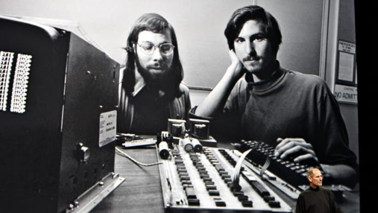 Steve Wozniak with Steve Jobs and one of the first Apple computers.