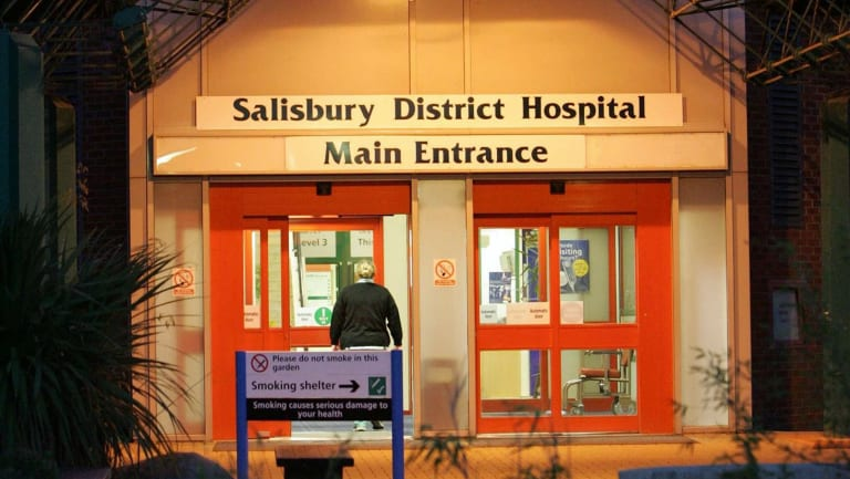 "The main entrance of Salisbury District Hospital, England, where a former Russian spy is in critical condition after coming into contact with an ""unknown substance."""