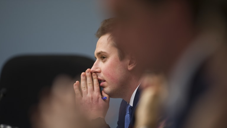 ACT MLA Michael Pettersson at the first day of the inquiry on Friday.