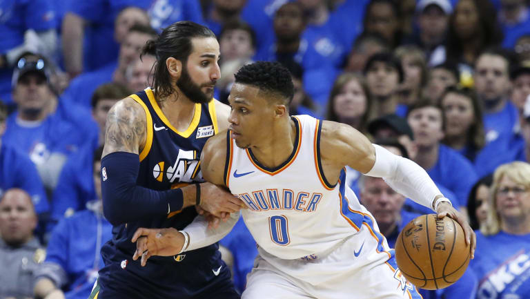 Thunder guard Russell Westbrook had a starring performance against the Jazz.