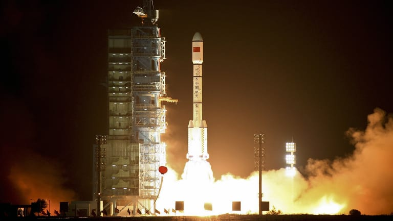 China's Tiangong-1 space station blasts off on a Long March-2FT1 carrier rocket from the launch pad at the Jiuquan Satellite Launch Centre in north-west China's Gansu Province on September 29, 2011.