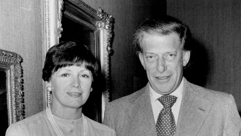 Lord and Lady Harewood with items from Harewood House on display at DJ's Gallery. at DJ's Elizabeth St. store in 1978.