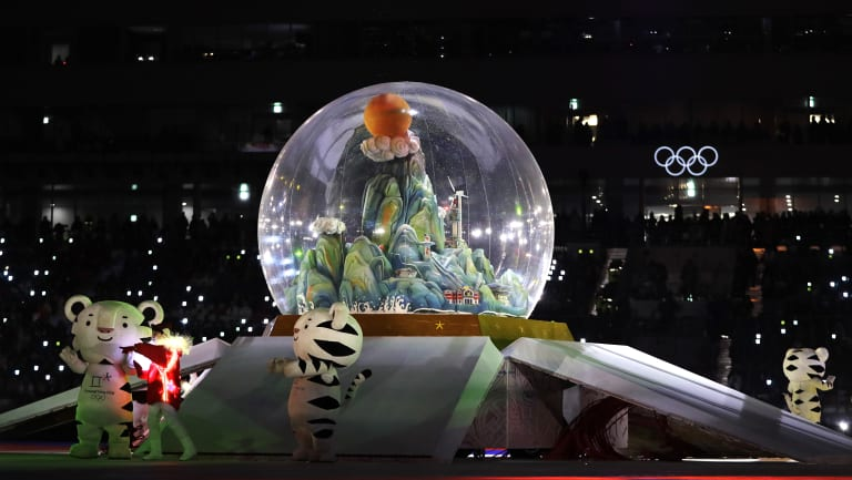 A snow globe takes centre stage during the Winter Olympics closing ceremony in Pyeongchang.
