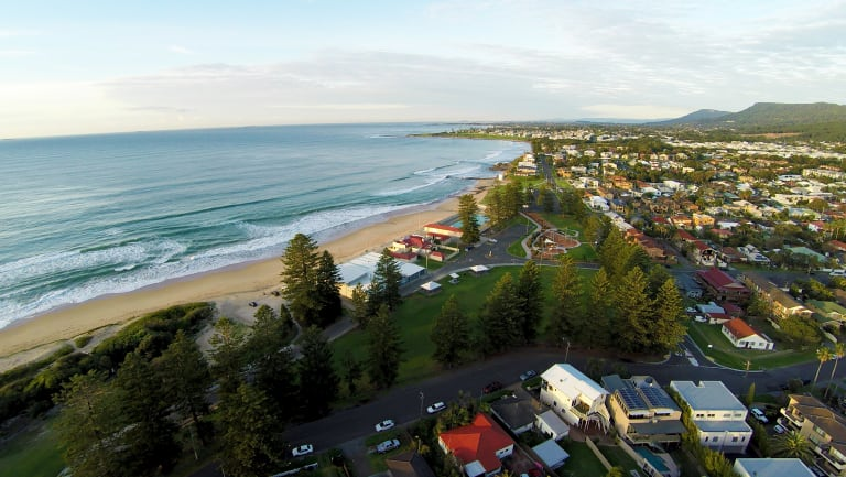 Thirroul beach, looking south towards Wollongong, faces climate change threats, the council says.