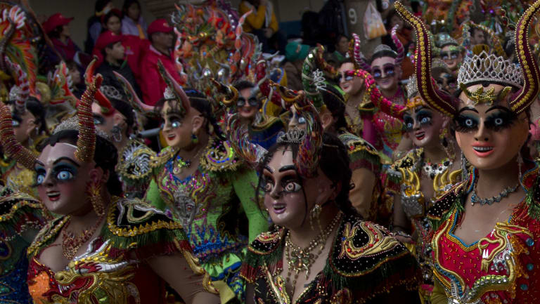 "Dancers perform the traditional ""Diablada"" or Dance of the Devils during the Carnival in Oruro, Bolivia on Saturday."