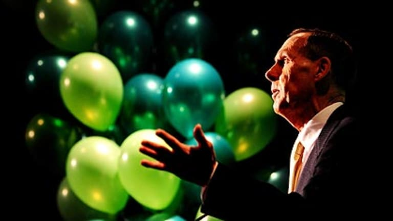 Life of the party: Bob Brown at the Australian Greens campaign launch in Canberra.