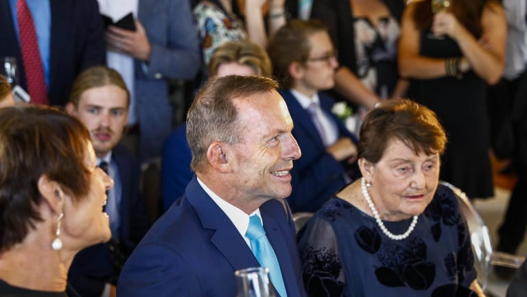 Tony Abbott, wife Margie and mother Fay at the wedding.