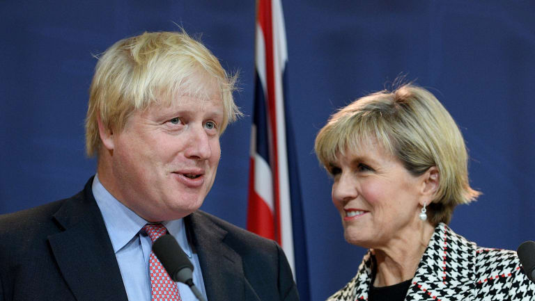 Julie Bishop with British Foreign Secretary Boris Johnson.