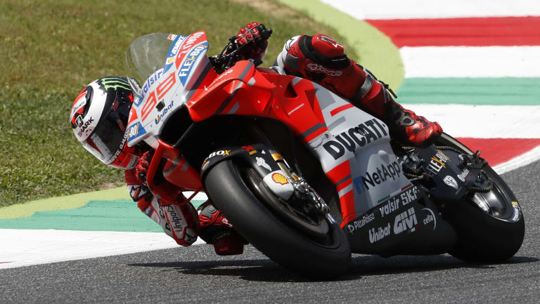 Lorenzo leans into a corner on his way to victory.