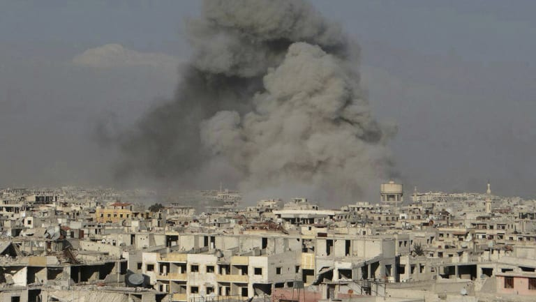 Smoke rising from Ghouta after a Syrian government airstrike.