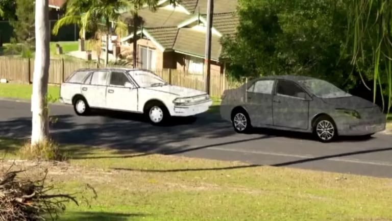 An artist's impression of two cars seen in Kendall on the morning William Tyrrell disappeared.
