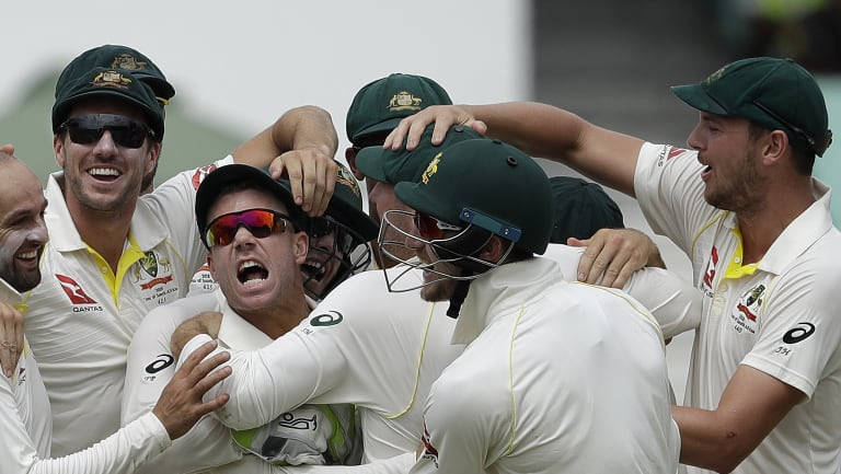 Tirade: David Warner is mobbed by teammates after the run out of  AB de Villiers for a duck.