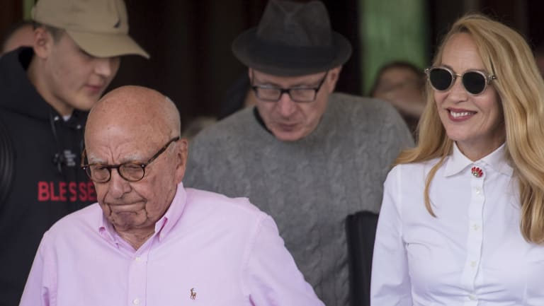 Rupert Murdoch and Jerry Hall arrive for the Allen & Co Media and Technology Conference in Idaho on July 10.