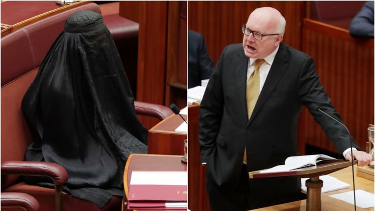 Senator Pauline Hanson wore a burqa into the Senate. Attorney-General George Senator Brandis repudiated her.