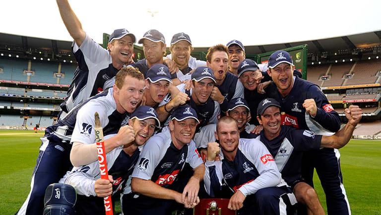 Gun team: The Bushrangers celebrate their Ryobi Cup win over Tasmania at the MCG in 2011.